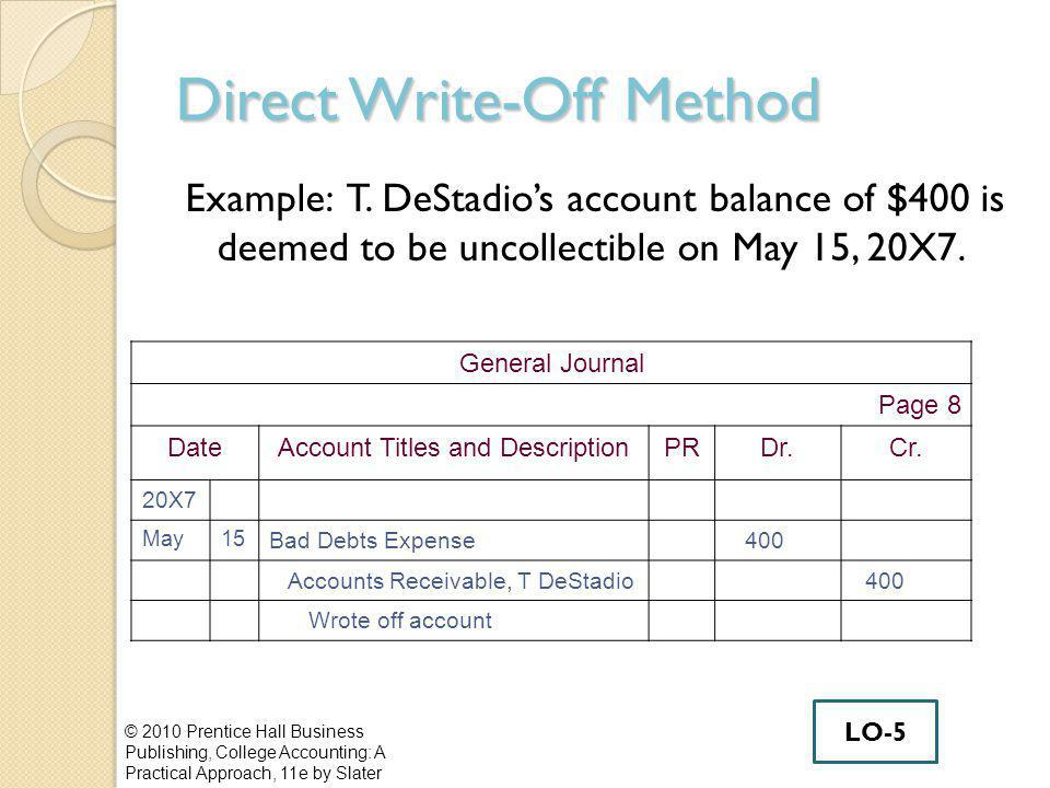 Direct Write-Off Method Example: T.