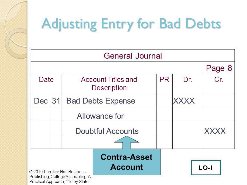Adjusting Entry for Bad Debts © 2010 Prentice Hall Business Publishing, College Accounting: A Practical Approach, 11e by Slater General Journal Page 8 DateAccount Titles and Description PRDr.Cr.