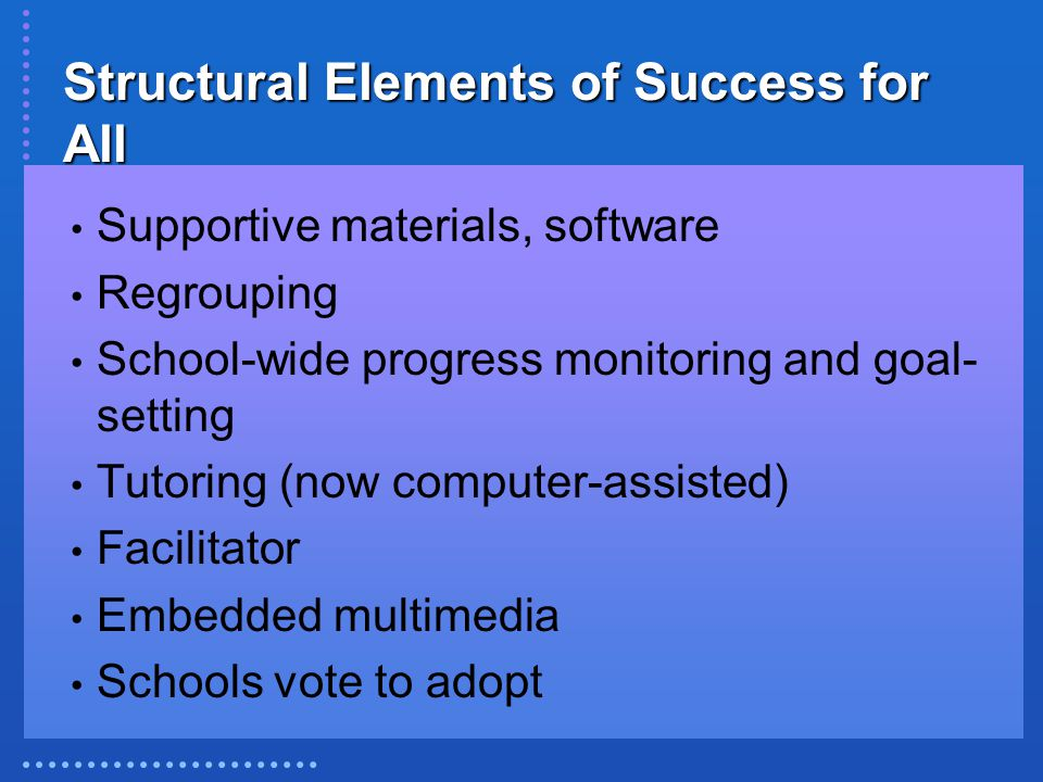 Structural Elements of Success for All Supportive materials, software Regrouping School-wide progress monitoring and goal- setting Tutoring (now compu