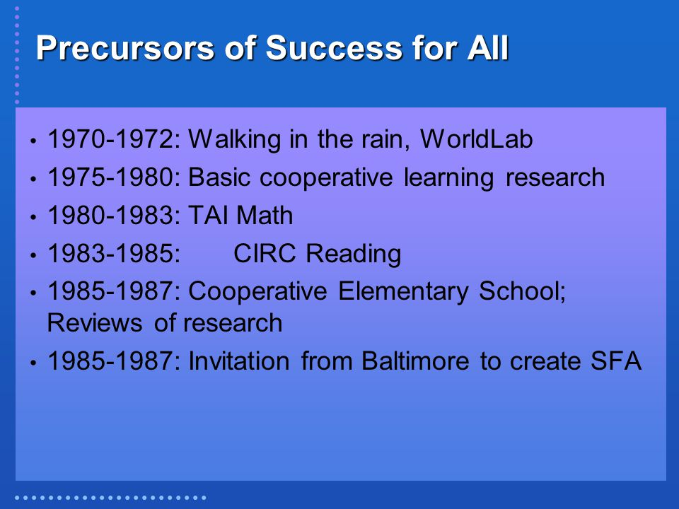 Precursors of Success for All 1970-1972: Walking in the rain, WorldLab 1975-1980: Basic cooperative learning research 1980-1983: TAI Math 1983-1985:CIRC Reading 1985-1987: Cooperative Elementary School; Reviews of research 1985-1987: Invitation from Baltimore to create SFA