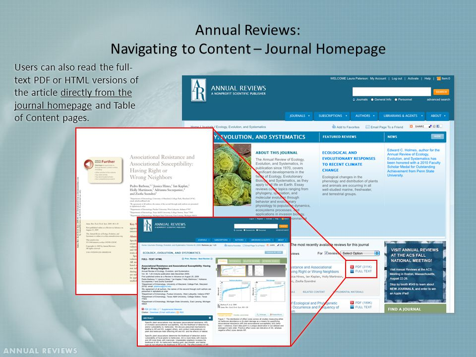 Users can also read the full- text PDF or HTML versions of the article directly from the journal homepage and Table of Content pages.