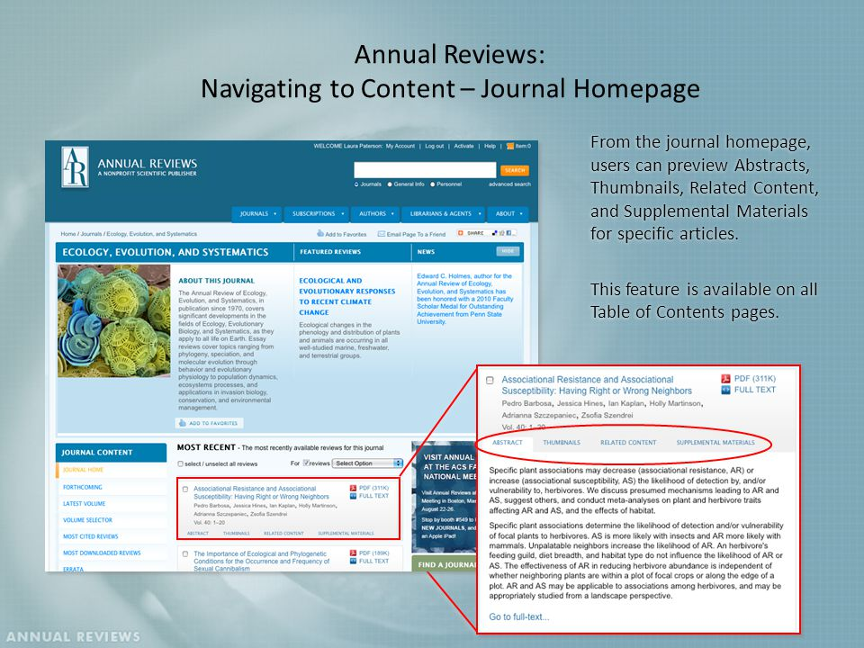 From the journal homepage, users can preview Abstracts, Thumbnails, Related Content, and Supplemental Materials for specific articles.