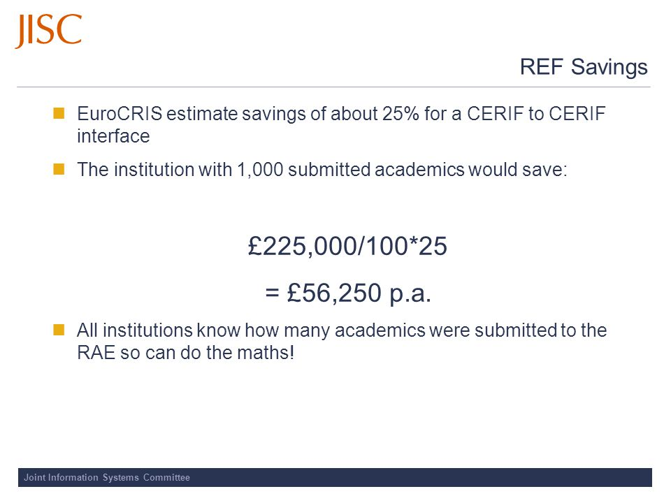Joint Information Systems Committee REF Savings EuroCRIS estimate savings of about 25% for a CERIF to CERIF interface The institution with 1,000 submitted academics would save: £225,000/100*25 = £56,250 p.a.