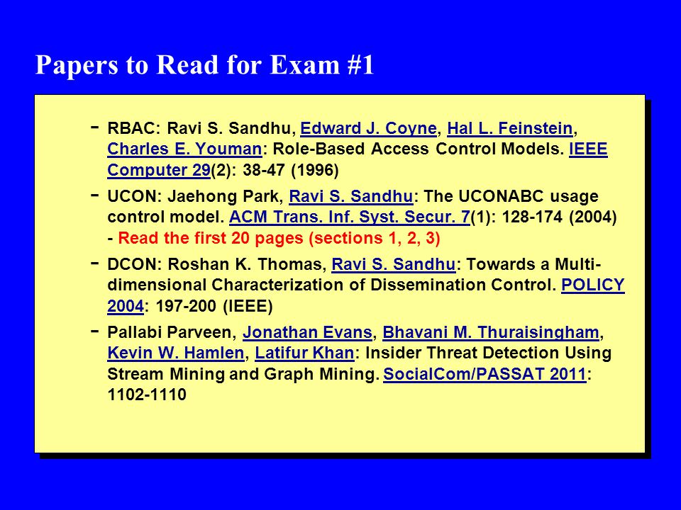 Papers to Read for Exam #1 - RBAC: Ravi S. Sandhu, Edward J.