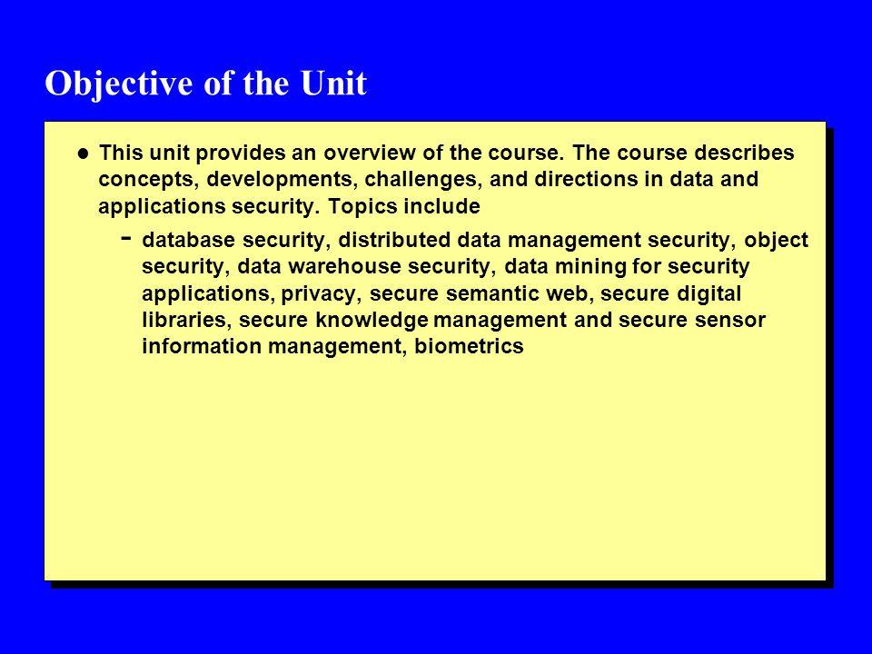 Outline of the Unit l Outline of Course l Course Work l Course Rules l Contact l Appendix