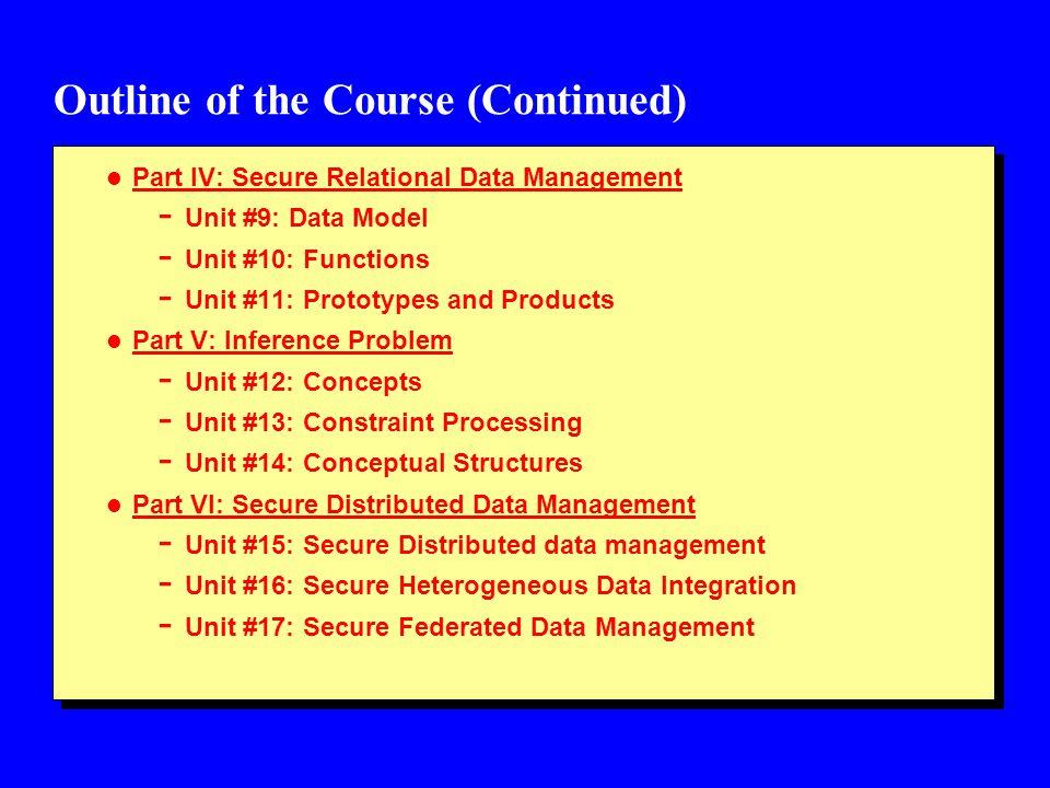 Outline of the Course (Continued) l Part IV: Secure Relational Data Management - Unit #9: Data Model - Unit #10: Functions - Unit #11: Prototypes and Products l Part V: Inference Problem - Unit #12: Concepts - Unit #13: Constraint Processing - Unit #14: Conceptual Structures l Part VI: Secure Distributed Data Management - Unit #15: Secure Distributed data management - Unit #16: Secure Heterogeneous Data Integration - Unit #17: Secure Federated Data Management