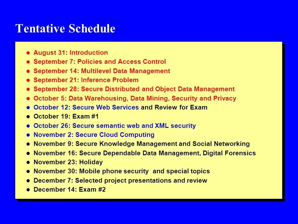 Tentative Schedule l Assignment #1 due date: September 21, 2012 l Assignment #2: due date: September 28, 2012 l Term #1: October 12, 2012 l Exam #1: October 19, 2012 l Assignment #3: October 26, 2012 l Assignment #4: November 2, 2012 (due date: November 16, 2012) l Term paper #2: November 9, 2012 l Project: November 30, 2012 l Exam #2: December 14, 2012