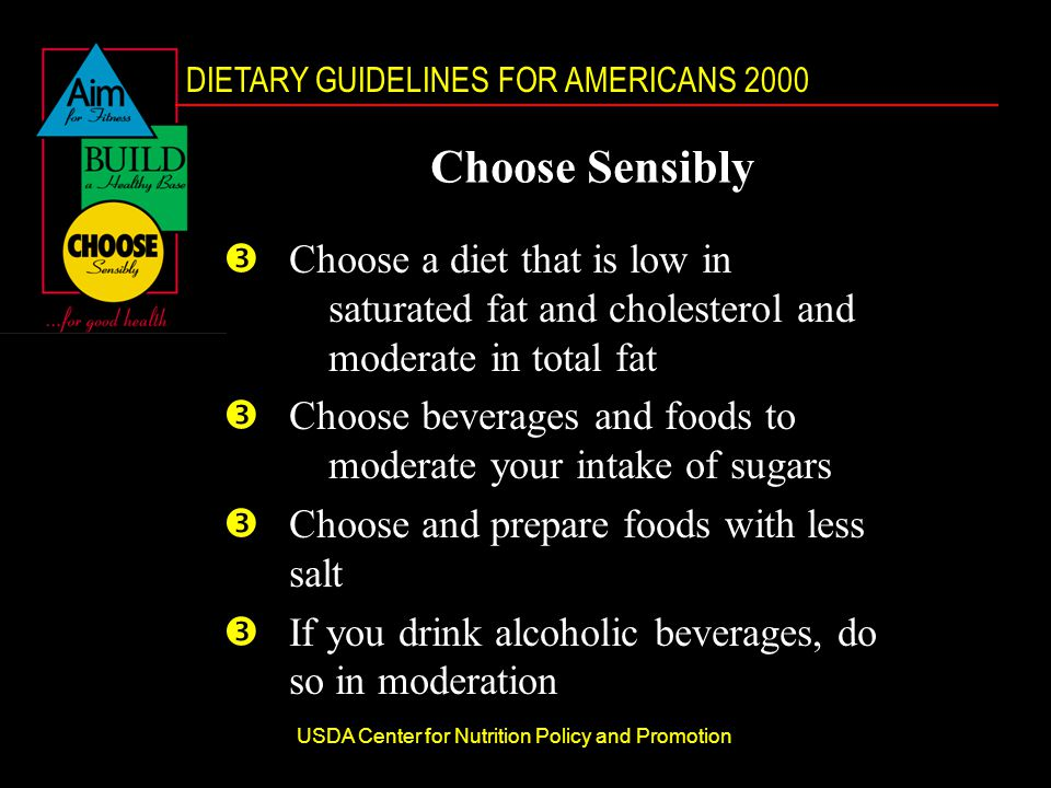 DIETARY GUIDELINES FOR AMERICANS 2000 USDA Center for Nutrition Policy and Promotion Choose Sensibly ŽChoose a diet that is low in saturated fat and cholesterol and moderate in total fat ŽChoose beverages and foods to moderate your intake of sugars ŽChoose and prepare foods with less salt ŽIf you drink alcoholic beverages, do so in moderation