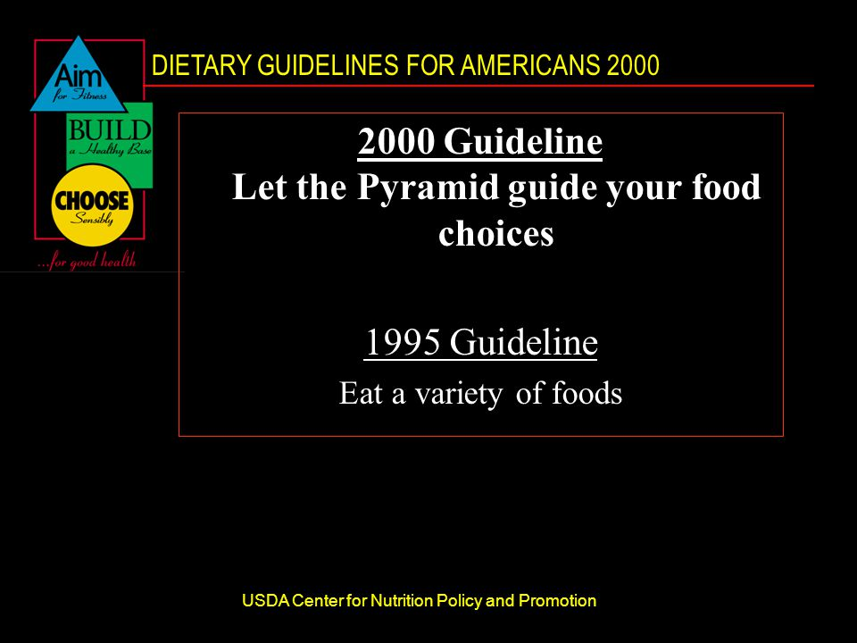 DIETARY GUIDELINES FOR AMERICANS 2000 USDA Center for Nutrition Policy and Promotion 2000 Guideline Let the Pyramid guide your food choices 1995 Guideline Eat a variety of foods