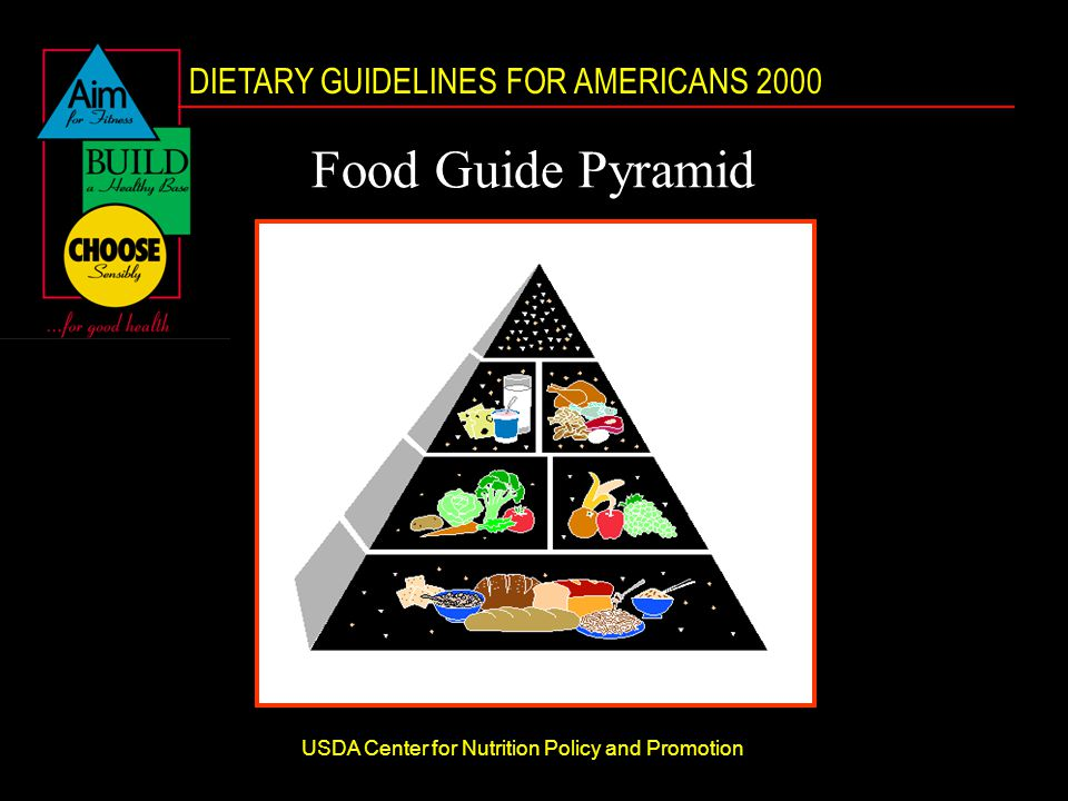 DIETARY GUIDELINES FOR AMERICANS 2000 USDA Center for Nutrition Policy and Promotion Food Guide Pyramid