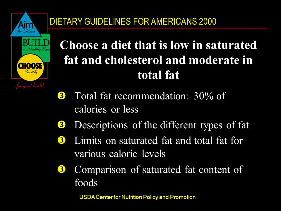 DIETARY GUIDELINES FOR AMERICANS 2000 USDA Center for Nutrition Policy and Promotion Choose a diet that is low in saturated fat and cholesterol and moderate in total fat ŽTotal fat recommendation: 30% of calories or less ŽDescriptions of the different types of fat ŽLimits on saturated fat and total fat for various calorie levels ŽComparison of saturated fat content of foods