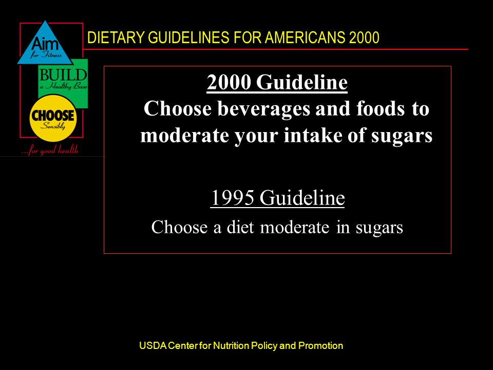 DIETARY GUIDELINES FOR AMERICANS 2000 USDA Center for Nutrition Policy and Promotion 2000 Guideline Choose beverages and foods to moderate your intake of sugars 1995 Guideline Choose a diet moderate in sugars