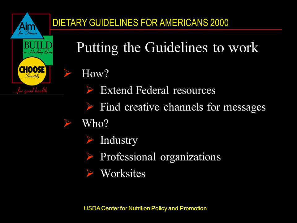 DIETARY GUIDELINES FOR AMERICANS 2000 USDA Center for Nutrition Policy and Promotion Putting the Guidelines to work  How.