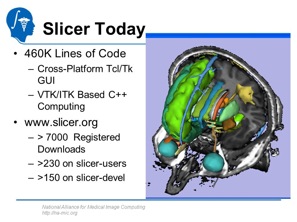 National Alliance for Medical Image Computing   Slicer Today 460K Lines of Code –Cross-Platform Tcl/Tk GUI –VTK/ITK Based C++ Computing   –> 7000 Registered Downloads –>230 on slicer-users –>150 on slicer-devel
