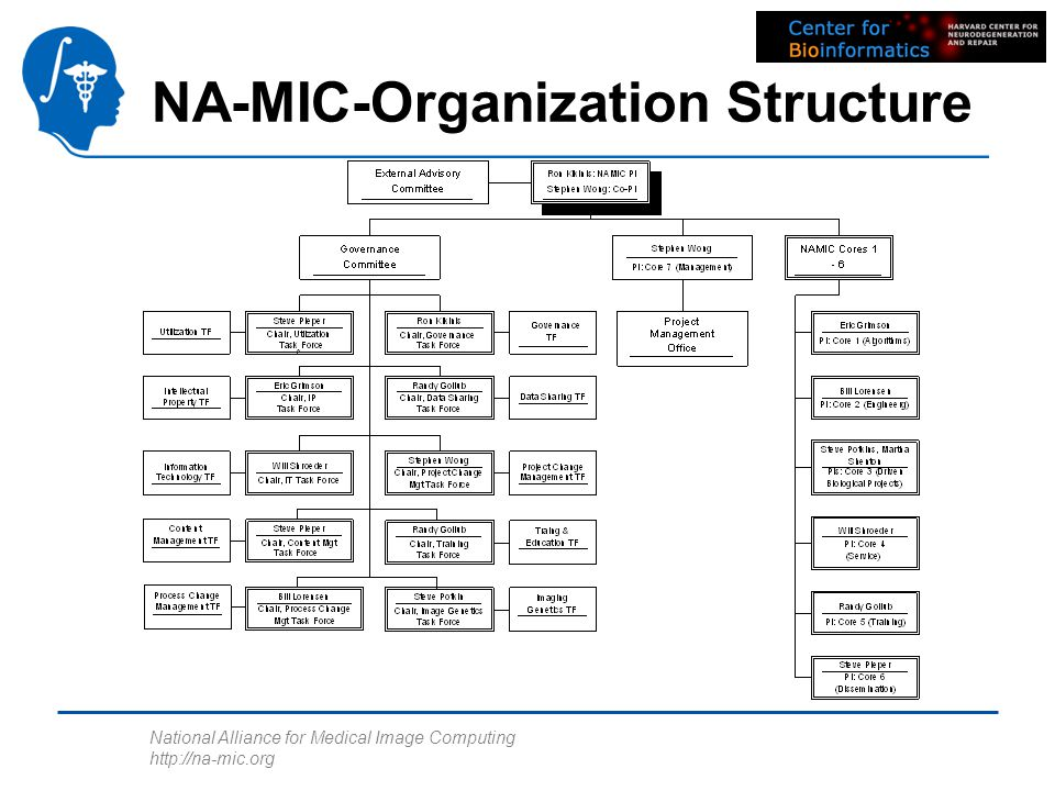 National Alliance for Medical Image Computing http://na-mic.org NA-MIC-Organization Structure