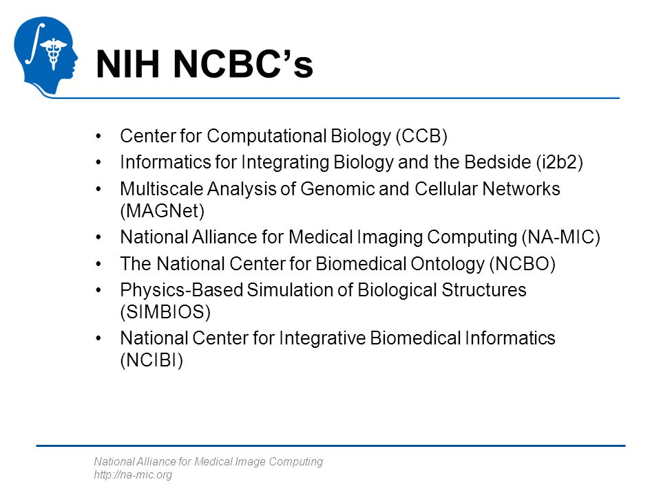 National Alliance for Medical Image Computing   NIH NCBC's Center for Computational Biology (CCB) Informatics for Integrating Biology and the Bedside (i2b2) Multiscale Analysis of Genomic and Cellular Networks (MAGNet) National Alliance for Medical Imaging Computing (NA-MIC) The National Center for Biomedical Ontology (NCBO) Physics-Based Simulation of Biological Structures (SIMBIOS) National Center for Integrative Biomedical Informatics (NCIBI)