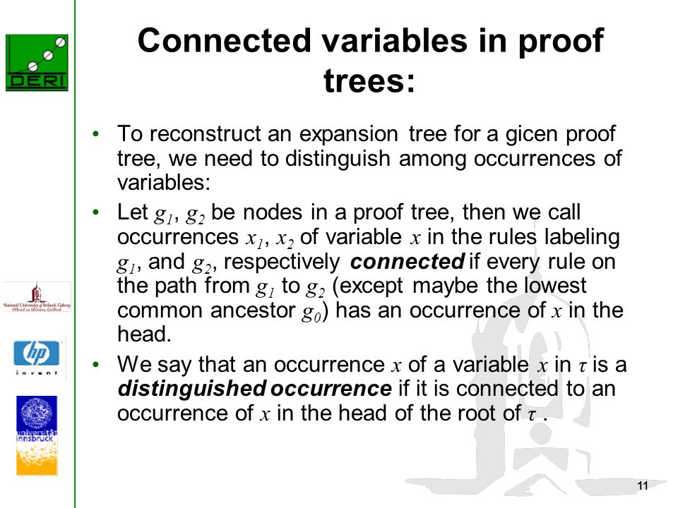 11 Connected variables in proof trees: To reconstruct an expansion tree for a gicen proof tree, we need to distinguish among occurrences of variables: Let g 1, g 2 be nodes in a proof tree, then we call occurrences x 1, x 2 of variable x in the rules labeling g 1, and g 2, respectively connected if every rule on the path from g 1 to g 2 (except maybe the lowest common ancestor g 0 ) has an occurrence of x in the head.