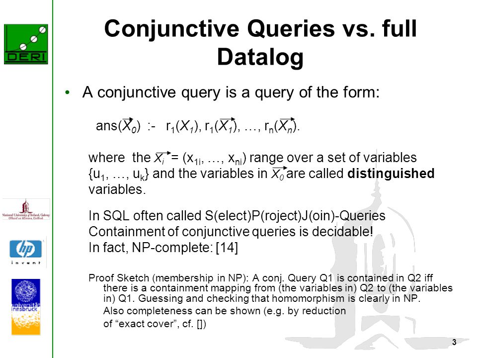 3 Conjunctive Queries vs.