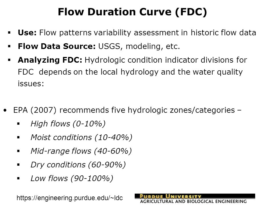 https://engineering.purdue.edu/~ldc Load Duration Curve (LDC)  Use: To understand water quality concentration and load variability for developing TMDLs  Water Quality Data: Federal, State and Educational institutions, watershed practitioners, etc  Water Quality Standard: EPA, Local Stakeholders  LDC Development: LDC = Stream flow *water quality target *conversion factor