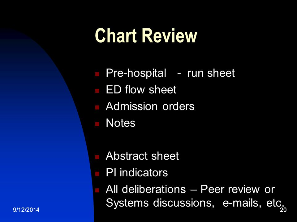 Chart Review Pre-hospital - run sheet ED flow sheet Admission orders Notes Abstract sheet PI indicators All deliberations – Peer review or Systems discussions, e-mails, etc.