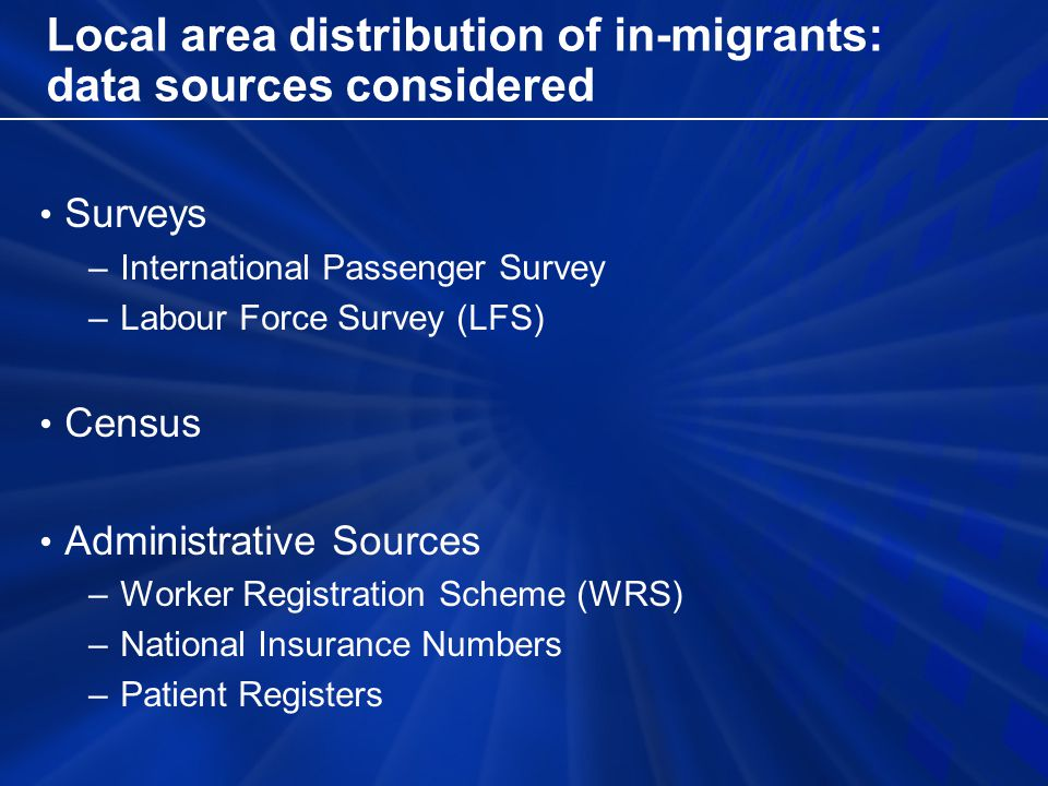 Local area distribution of in-migrants: data sources considered Surveys –International Passenger Survey –Labour Force Survey (LFS) Census Administrative Sources –Worker Registration Scheme (WRS) –National Insurance Numbers –Patient Registers