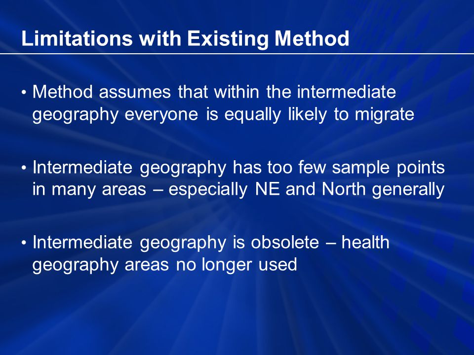 Limitations with Existing Method Method assumes that within the intermediate geography everyone is equally likely to migrate Intermediate geography has too few sample points in many areas – especially NE and North generally Intermediate geography is obsolete – health geography areas no longer used