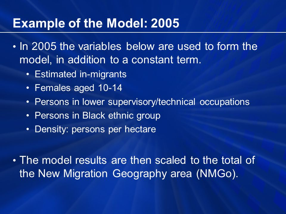 Example of the Model: 2005 In 2005 the variables below are used to form the model, in addition to a constant term.