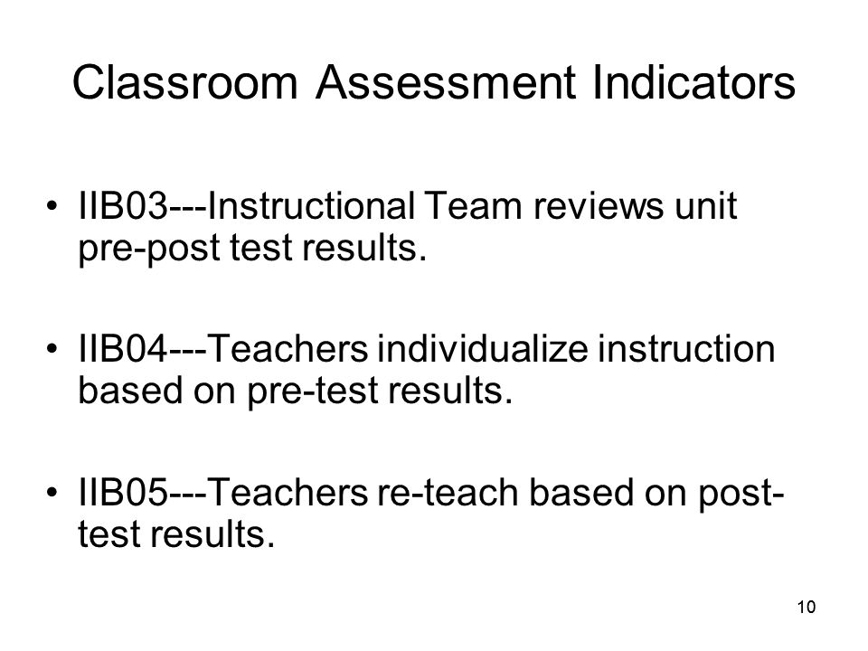 10 Classroom Assessment Indicators IIB03---Instructional Team reviews unit pre-post test results.