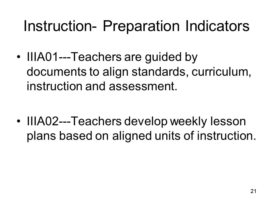 21 Instruction- Preparation Indicators IIIA01---Teachers are guided by documents to align standards, curriculum, instruction and assessment.