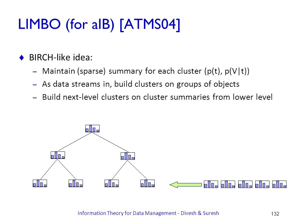 LIMBO (for aIB) [ATMS04]  BIRCH-like idea: – Maintain (sparse) summary for each cluster (p(t), p(V|t)) – As data streams in, build clusters on groups of objects – Build next-level clusters on cluster summaries from lower level 132 Information Theory for Data Management - Divesh & Suresh