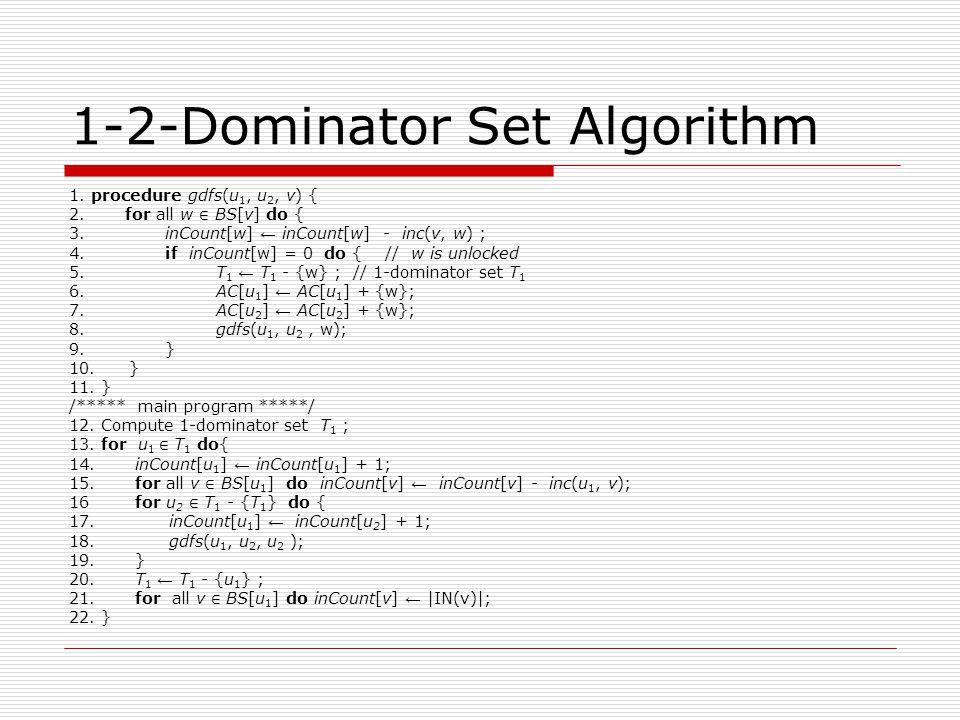 1-2-Dominator Set Algorithm 1. procedure gdfs(u 1, u 2, v) { 2.
