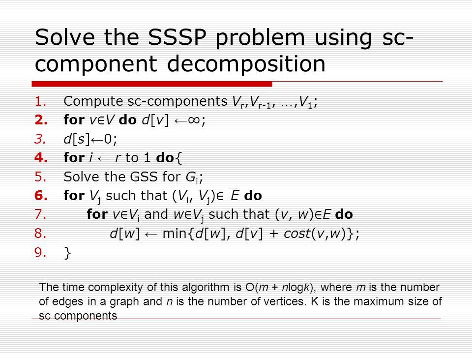 Solve the SSSP problem using sc- component decomposition 1.Compute sc-components V r,V r-1, …,V 1 ; 2.for v ∈ V do d[v] ← ∞; 3.d[s] ← 0; 4.for i ← r to 1 do{ 5.Solve the GSS for G i ; 6.for V j such that (V i, V j ) ∈ E do 7.