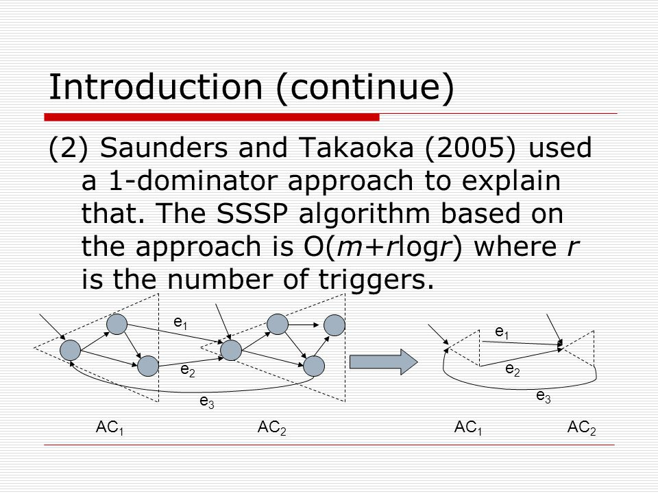 Introduction (continue) (2) Saunders and Takaoka (2005) used a 1-dominator approach to explain that.