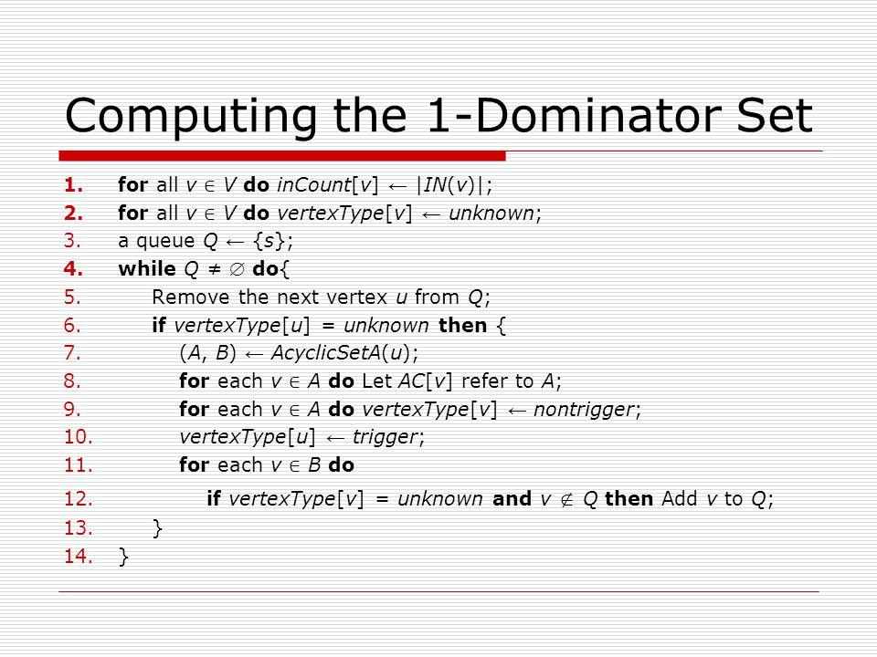 Computing the 1-Dominator Set 1.for all v ∈ V do inCount[v] ← |IN(v)|; 2.for all v ∈ V do vertexType[v] ← unknown; 3.a queue Q ← {s}; 4.while Q ≠  do{ 5.