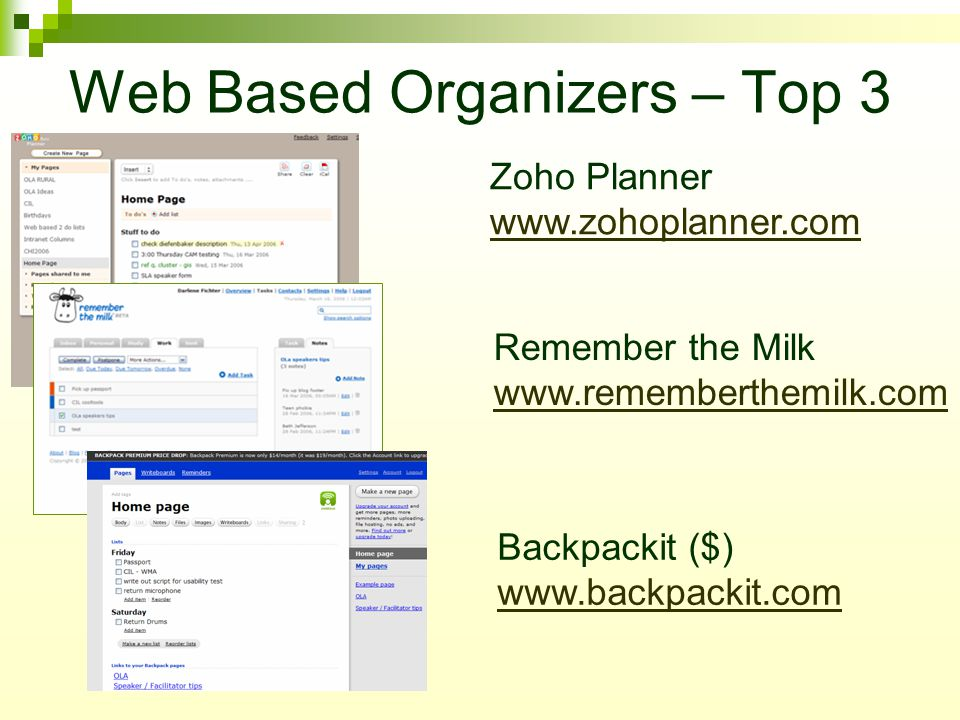 Web Based Organizers – Top 3 Zoho Planner www.zohoplanner.com www.zohoplanner.com Remember the Milk www.rememberthemilk.com www.rememberthemilk.com Backpackit ($) www.backpackit.com www.backpackit.com