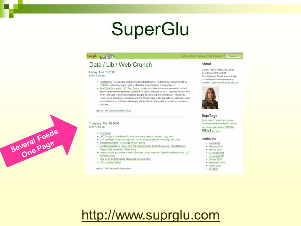 SuperGlu Several Feeds One Page http://www.suprglu.com