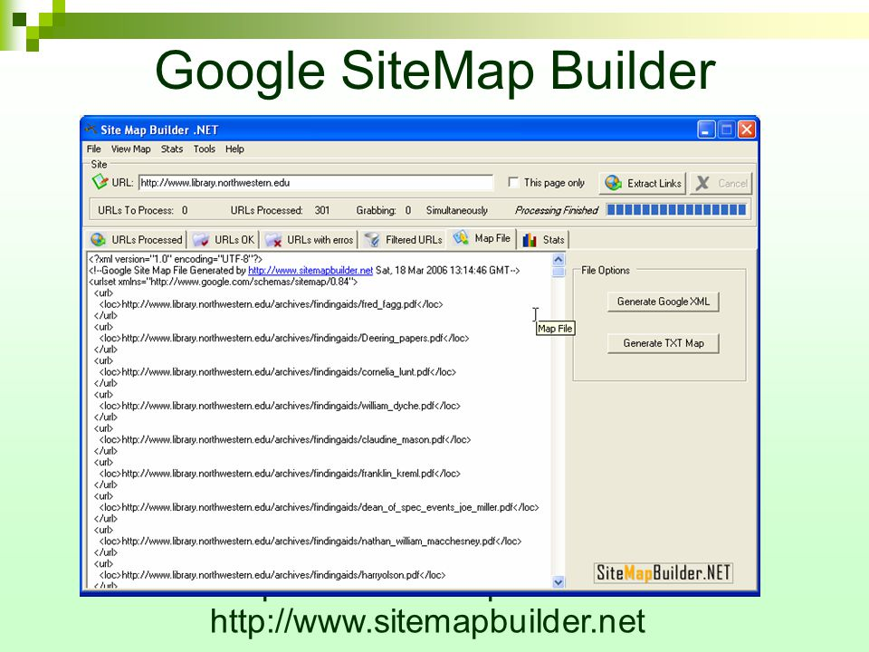 Google SiteMap Builder http://www.sitemapbuilder.net/ http://www.sitemapbuilder.net