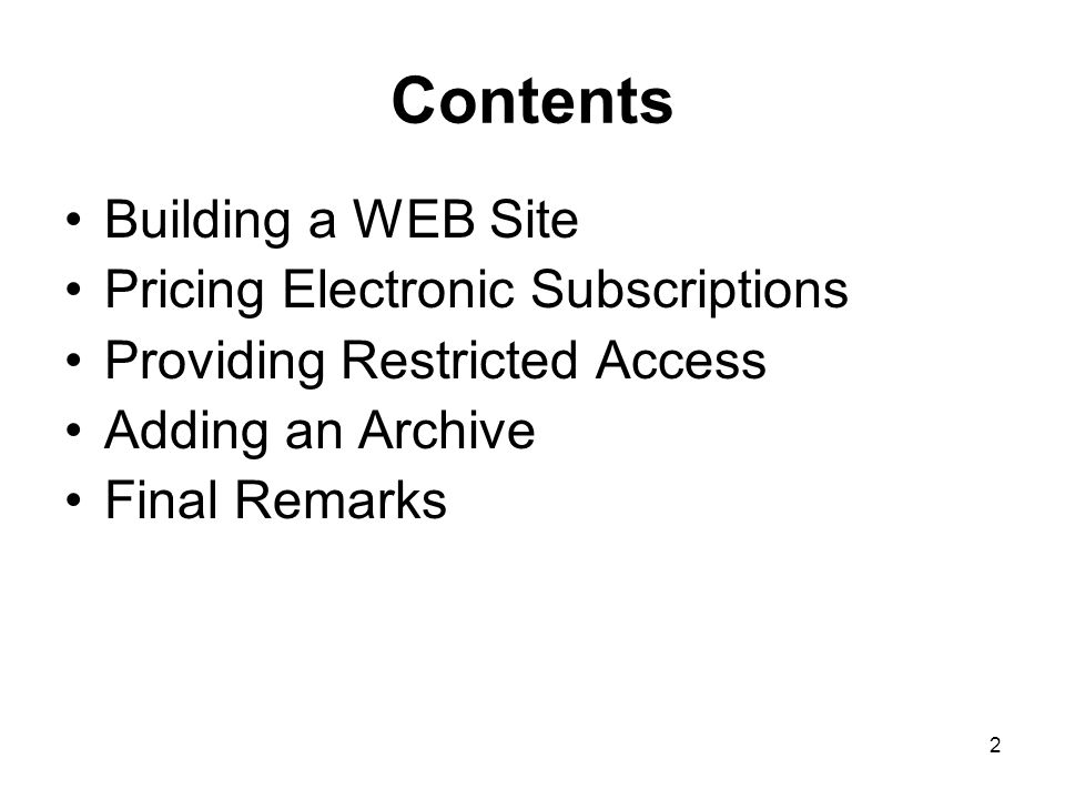 3 Building a WEB Site 1997 Site with contents, abstracts and comprehensive index 1999 Moved up from a print to print+electronic journal 2004 Added backfiles Site is text based.