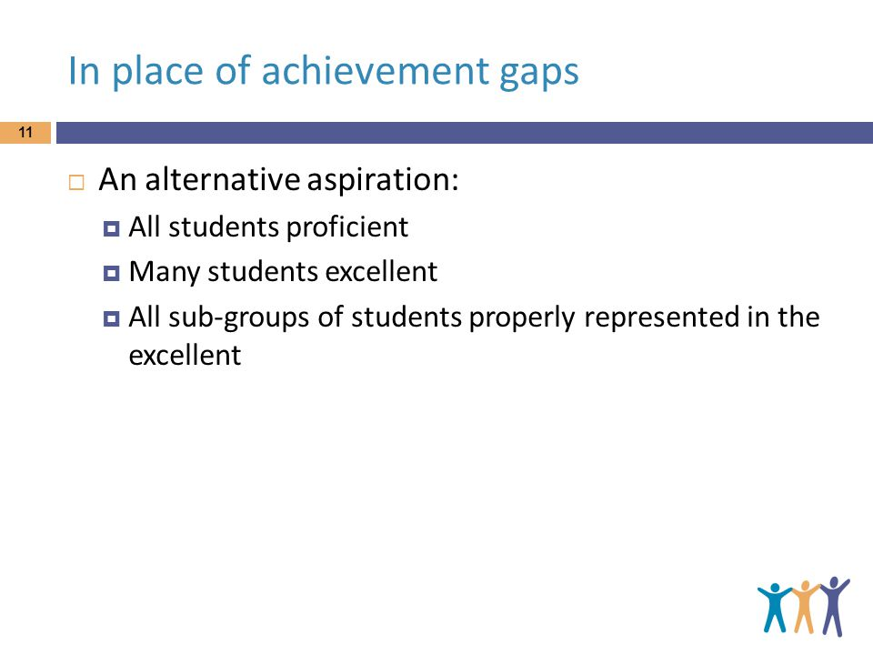 In place of achievement gaps 11  An alternative aspiration:  All students proficient  Many students excellent  All sub-groups of students properly represented in the excellent