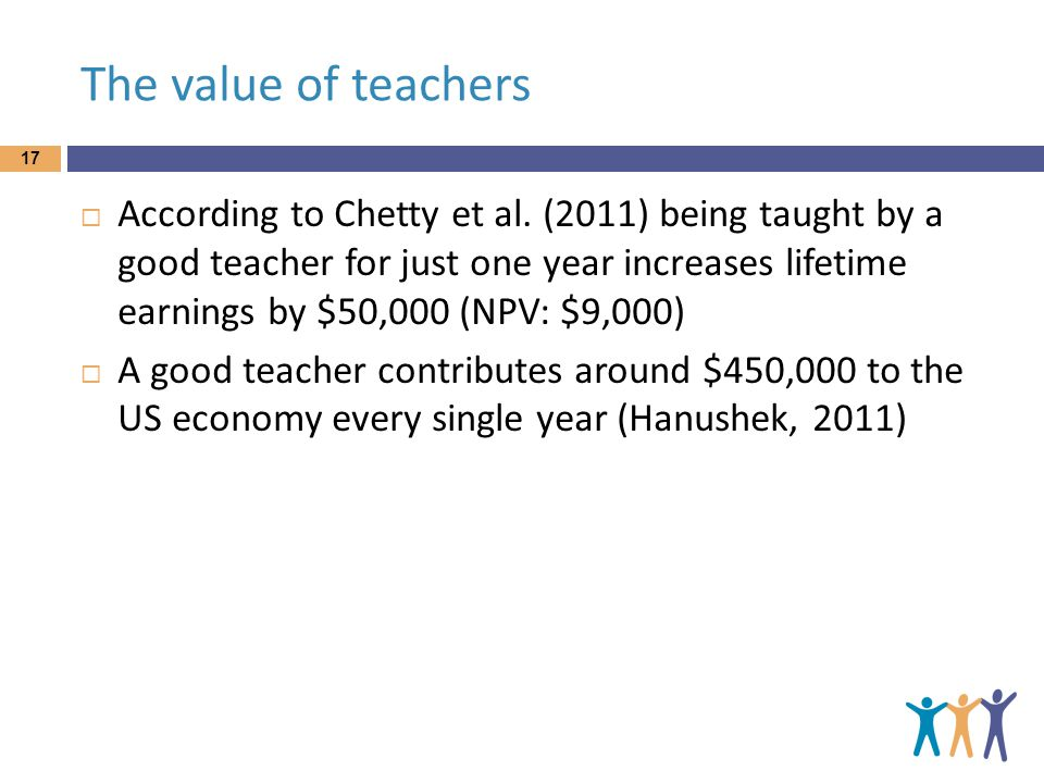 The value of teachers 17  According to Chetty et al.
