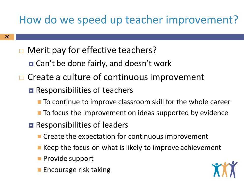 How do we speed up teacher improvement. 20  Merit pay for effective teachers.
