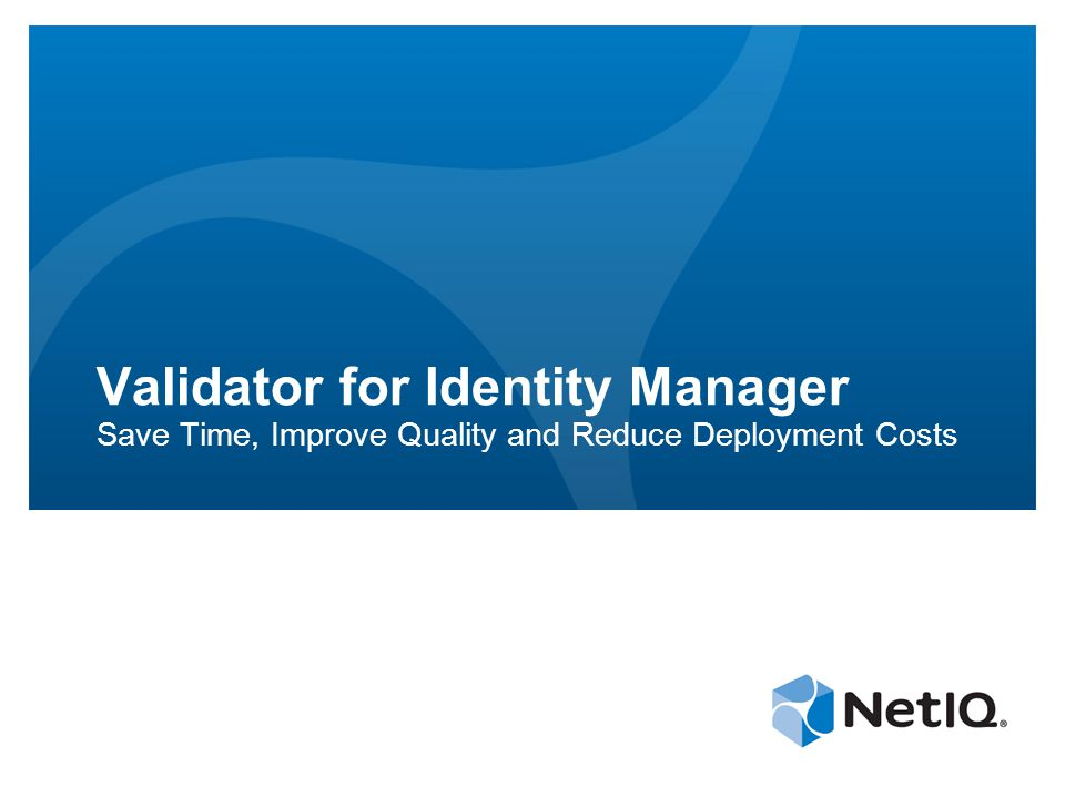 Validator for Identity Manager Save Time, Improve Quality and Reduce Deployment Costs