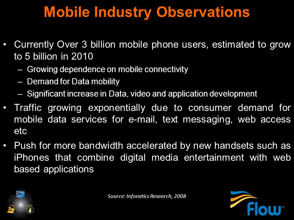 Mobile Industry Observations Currently Over 3 billion mobile phone users, estimated to grow to 5 billion in 2010 –Growing dependence on mobile connectivity –Demand for Data mobility –Significant increase in Data, video and application development Traffic growing exponentially due to consumer demand for mobile data services for e-mail, text messaging, web access etc Push for more bandwidth accelerated by new handsets such as iPhones that combine digital media entertainment with web based applications Source: Infonetics Research, 2008