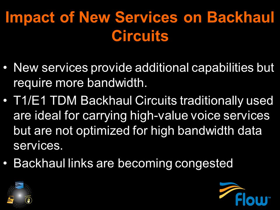 Impact of New Services on Backhaul Circuits New services provide additional capabilities but require more bandwidth.