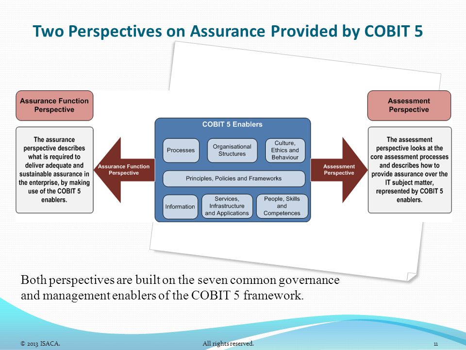 Two Perspectives on Assurance Provided by COBIT 5 Both perspectives are built on the seven common governance and management enablers of the COBIT 5 fr