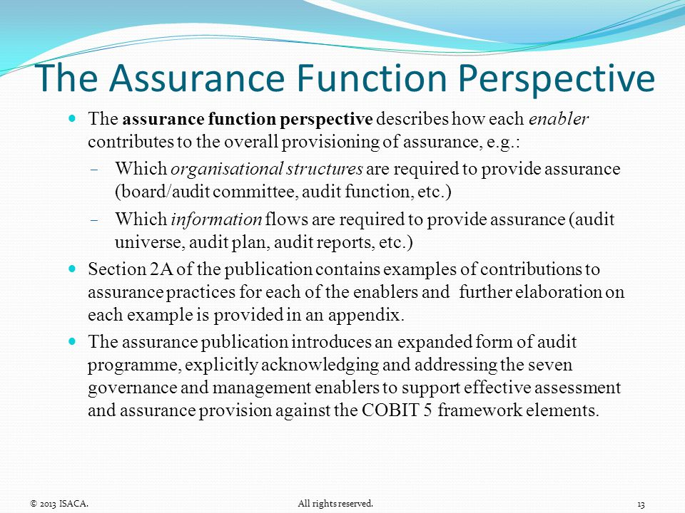 The Assurance Function Perspective The assurance function perspective describes how each enabler contributes to the overall provisioning of assurance,