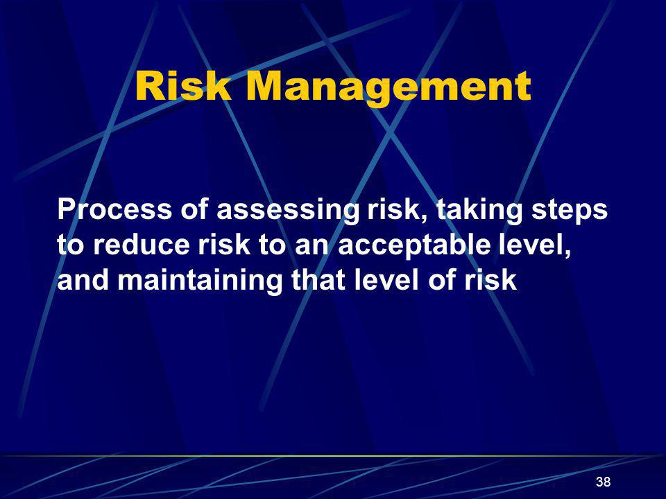 38 Risk Management Process of assessing risk, taking steps to reduce risk to an acceptable level, and maintaining that level of risk