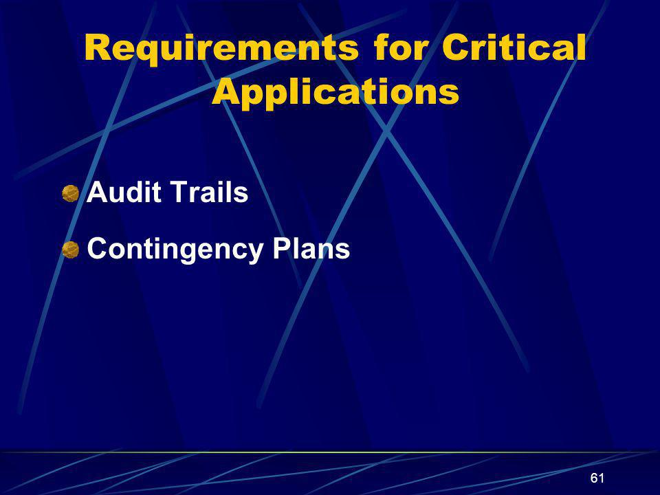 61 Requirements for Critical Applications Audit Trails Contingency Plans