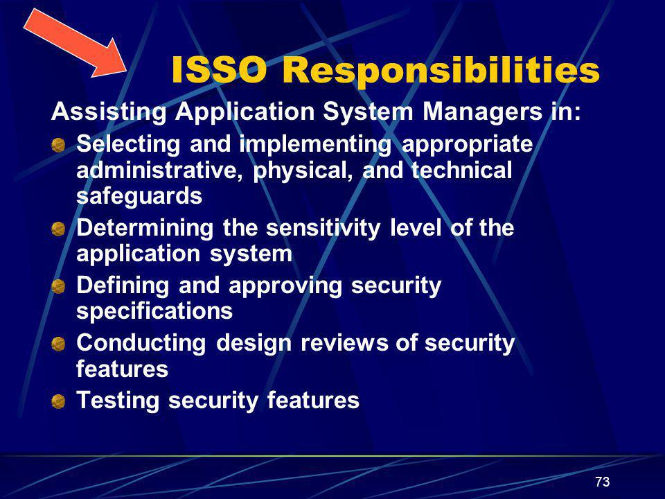 73 ISSO Responsibilities Assisting Application System Managers in: Selecting and implementing appropriate administrative, physical, and technical safeguards Determining the sensitivity level of the application system Defining and approving security specifications Conducting design reviews of security features Testing security features