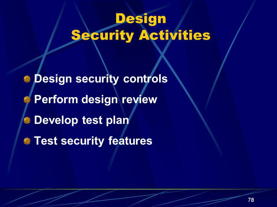 78 Design Security Activities Design security controls Perform design review Develop test plan Test security features